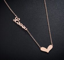 Love Heart Silver SP/Rose Gold GP Double Pendant Necklace