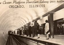 Vintage Postcard  Real Photo Building Chicago  Illinois Downtown Subway Platform
