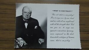 Sir Winston Churchill -What Is Our Policy Valentine Postcard 1965 Unposted
