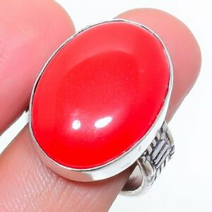 Coral Gemstone Handmade Ethnic 925 Sterling Silver Ring Size 8