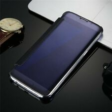 Luxury Mirror Plating Clear View Flip Folio Phone Case Slim Hard PC Bumper Cover