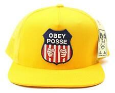 Obey Mens Prison Union Trucker Snapback Hat Yellow One Size New
