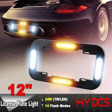 """12"""" 24W LED Warn Flash Traffic Adviser Strobe License plate lights Amber White"""