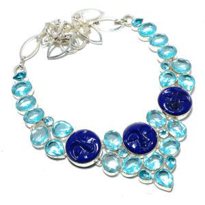 "Carved Face Lapis Lazuli & Blue Topaz 925 Sterling Silver Necklace 17.99"" AMN256"