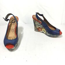 G By Guess Women's 6 M Blue Red Floral Fabric Wedge Heel Sandals