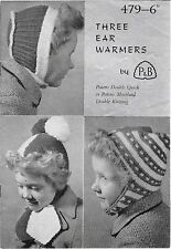 Vintage Patons 479 ear warmer pom pom beanie hat child knitting pattern leaflet