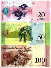 VENEZUELA X 100 FULL SET 2 5 10 20 50 100 BUNDLE 2007-2015 ANIMAL UNC X 600 NOTE