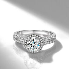 925 Sterling Silver Double row Simulated Diamond Wedding Engagement Ring Women
