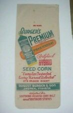 NOS DOUBLE SIDED 1950's VINTAGE BURGER & SON INDIANA CANVAS FEED CORN SEED SACK