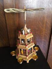 german christmas pyramid carousel 3 tier 6 candle nativity erzgebirge