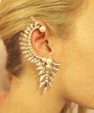 Diamond and pearl drop single earring