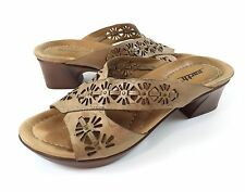 Earth Balsam 8B Brown Leather Strappy Floral Cutouts Sandals Heels Slides Shoes