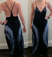Blue & White maxi beach long deep v neck low backless dress tie dye 8 side boob