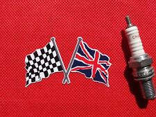 """Crossed Union Jack & Chequered Flag 3"""" sticker"""