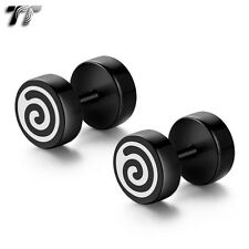 TT 8mm Surgical Steel Black Round Swirl O-Ring Fake Ear Plug Earrings (BE142)NEW