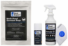 Pest Expert® Clothes Moth Killer Spray, Moth Proof Garment Bags and Fogger Bomb
