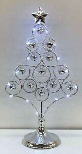 """14"""" Pre-Lit LED Table Top Christmas Silver Tree With Jingle Bell Xmas Decoration"""
