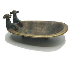 Vintage Solid Brass Tub Footed Bathtub Soap Dish Sponge Holder Dollhouse Tub