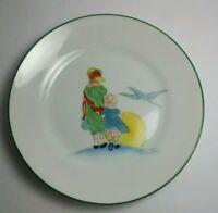 "Vintage Unique Hand Painted Nippon  Sunset Woman & Child Crane Plate 6.5"""