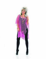 Womens Neon Pink Long Mesh Top Ladies 1980s Retro Wild Child Fishnet Fancy Dress