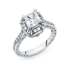 14k real white Gold  princess cut  Engagement Wedding  Ring  S 6