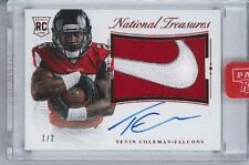 2015 NATIONAL TREASURES BRAND LOGO RED NIKE PATCH AUTO TEVIN COLEMAN 1/2 FALCONS