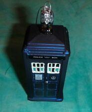 KURT ADLER GLASS ORNAMENT ~ BBC ~ DOCTOR WHO ~ TARDIS ~ PHONE BOOTH ~ 2014 *EUC