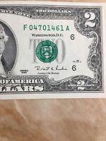 U.S. Currency Series 1995 RARE $2 Dollar Bill in Great Shape ( Atlanta)