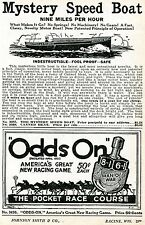 1928 small Print Ad of Odds On Spinner Horse Race Game & Mystery Speed Boat
