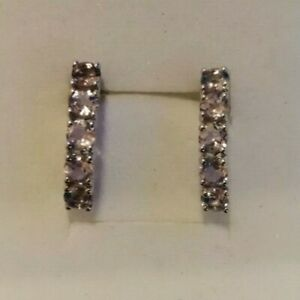 Sterling Silver and 5 stone tanzanite earrings