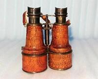 Castle Instruments Antique Brass Binocular Cherry/Brown Color Victorian Marine