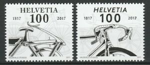 Switzerland 2017 Bicycles 2 MNH stamps