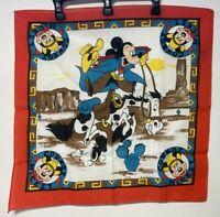"Vintage NEW Disney Cowboy Mickey Horse 22"" Square Bandana Scarf Woronowicz"