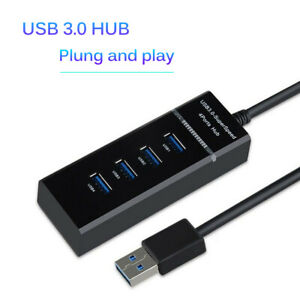 4 Port USB 3.0 Multi High Speed HUB Splitter Expansion Desktop Laptop PC Max OS