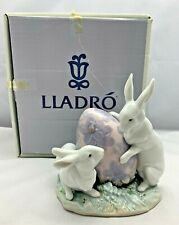 Lladro 05902 Easter Bunny Rabbits with Giant Easter Egg with Original Box 1992