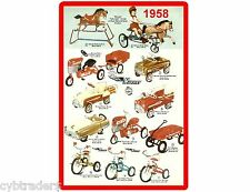 1958 Toy Peddle Cars Ad Refrigerator / Tool Box  Magnet Gift Card Insert