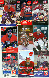 9 HOCKEY SCHEDULES   MONTREAL CANADAINS  Goalies on cover   Roy,Price,Huet etc