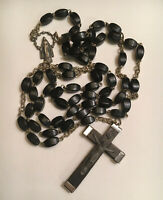 ✞ Antique Traditional Catholic Rosary Rectangular Black Beads Miraculous Italy ✞