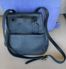 coach navy blue leather bucket crossbody/shoulder bag/Small~Very Good Cond!