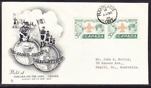 """Canada 1955 Scout Jamboree """"FT"""" UPRATED First Day Cover to Australia"""