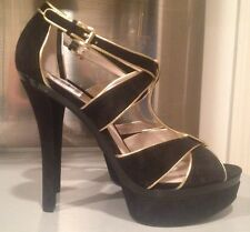 Michael Kors Gideon Sexy High Heel Sandals Suede Leather T-strap Black Gold 11 M
