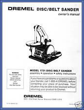 Copy of Owner's Manual for Dremel Disc/Belt Sander Model 1731