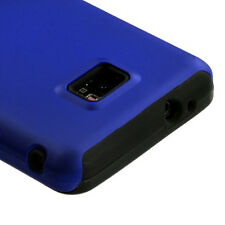 AT&T SAMSUNG GALAXY S2 i9100 i777 DUAL LAYER HARD COVER+SILICONE CASE NAVY BLUE