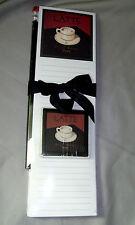 "Paper Pad Latte Memo Mate Gift Set Pencil Magnet Cafe Italia 9.5"" x 2.75"""