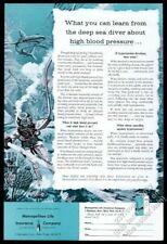 1956 deep-sea diving diver helmet suit shark art Mel Life vintage print ad