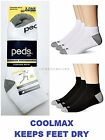 3 / 6 Pairs Mens Peds Brand COOLMAX Moisture Wicking Cushioned Quarter Socks