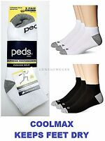 3 / 6 / 12 Pairs Mens PEDS Brand COOLMAX Moisture Wicking Cushioned Ankle Socks