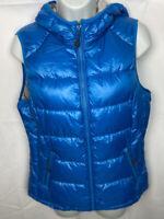 Tangerine Women's Turquoise Puffer Vest Size Medium Hooded Zip Pockets NWOT