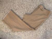 Worthington Stretch Brown Tan Flat Front Women's Dress Pants Size 12 Inseam 29