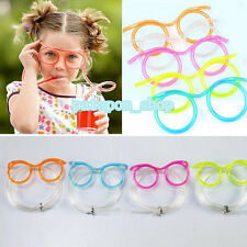 Funny Colorful Soft Glasses Straw Unique Flexible Drinking Tube Kids Party Gift